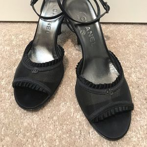 Chanel strap heels with black crystal logo